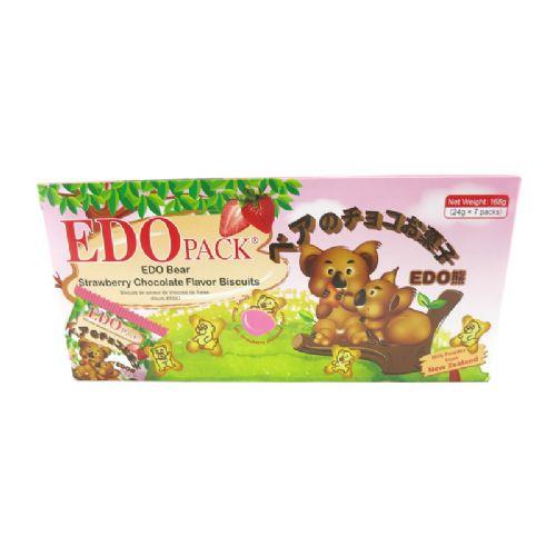 EDO熊仔草莓巧克力味罐心饼干168g