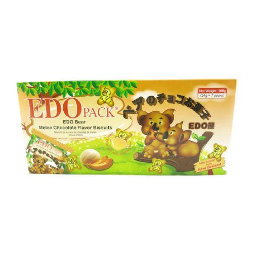 EDO熊仔哈密瓜巧克力味罐心饼干168g