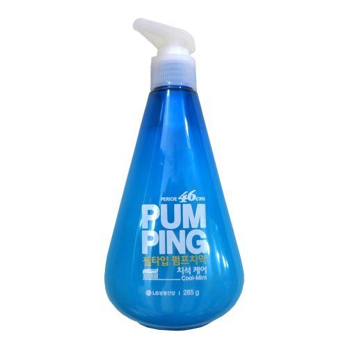 韩国LG PUM PING 倍瑞傲新概念可爱按压式牙膏 薄荷清新口气 去除牙结石 蓝色 285g