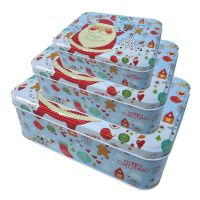 圣诞老人蓝色长方形小罐子