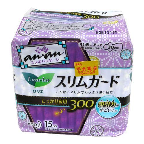 日本花王乐而雅15片夜用超吸收卫生巾30cm