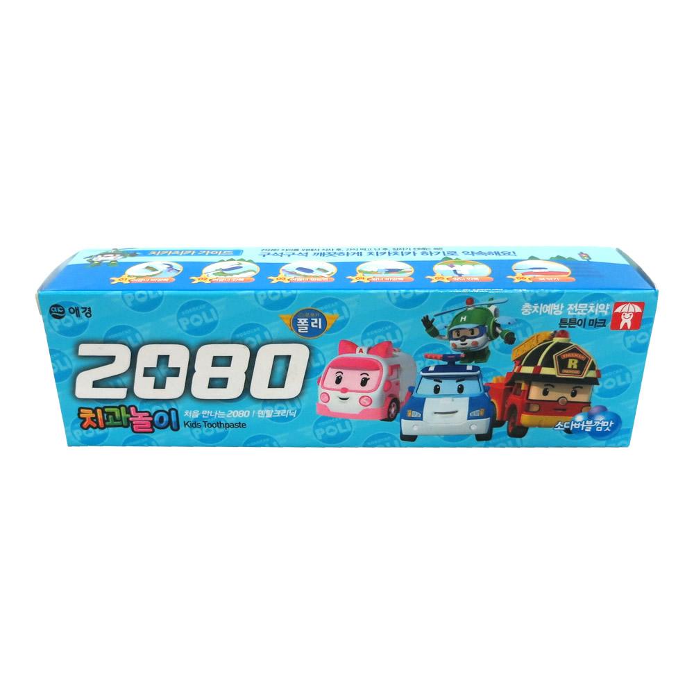 韩国爱敬2080儿童牙膏 泡泡糖味 防蛀固齿抗菌美白 80g #8235