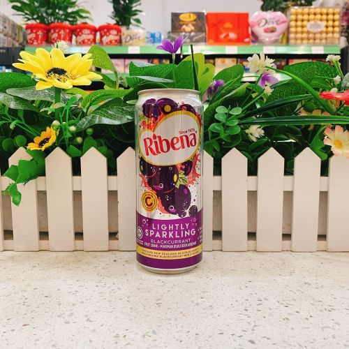 马来西亚Ribena利宾纳含气黑加仑味果汁饮料罐装325ml