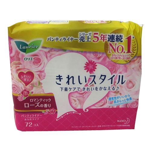 日本原装花王LAURIER透气舒适护垫玫瑰花香72片140mm