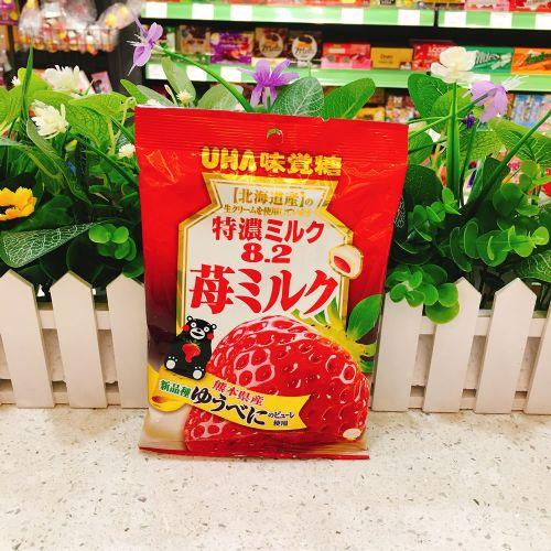 UHA悠哈味觉8.2特浓熊本草莓牛奶糖80g(袋装)