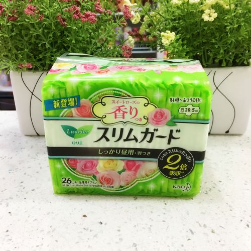 日本花王乐而雅S系列卫生巾玫瑰香型 日用20.5CM26片