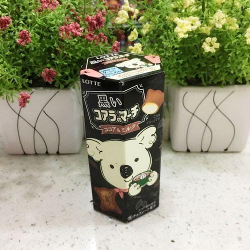 乐天黑色可可牛奶朱古力熊仔饼48g(六角盒)