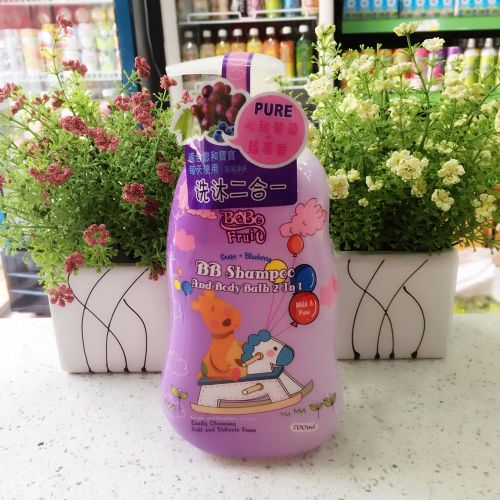 香港抱抱果儿葡萄+蓝莓二合一洗发沐浴露700ml(温和配方)