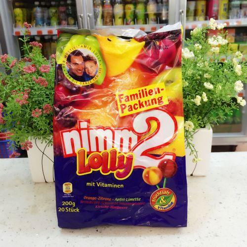 德国进口零食 nimm2 LOLLY 二宝4味水果棒棒糖维生素糖果20支200g