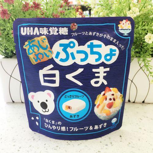 日本UHA悠哈味觉白熊杂果红豆粒粒牛奶冰味软糖62g(企袋)