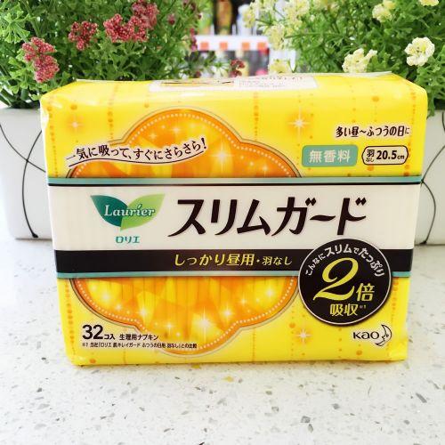 日本花王乐而雅 卫生巾超薄瞬吸1mm 20.5cm×32片(无香味)