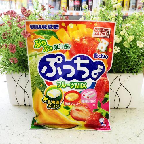 日本悠哈UHA味觉糖90g(哈密瓜、草莓、芒果)