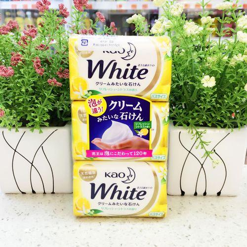 日本花王white100%天然植物沐浴柠檬护肤香皂130g×3