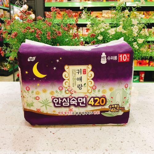 韩国LG贵爱娘中草药无荧光剂卫生巾(大)42cm 10片 夜用