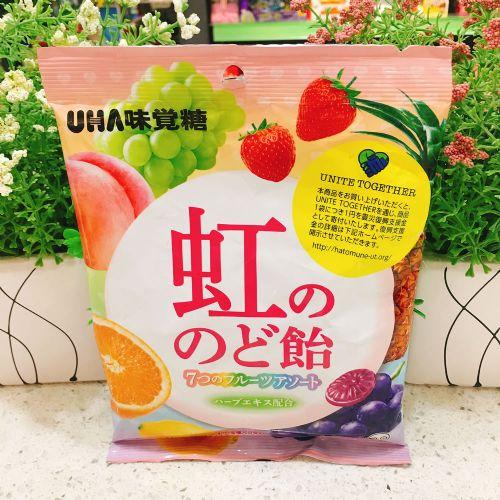 日本UHA悠哈味觉彩虹杂果润喉糖125g(袋装)