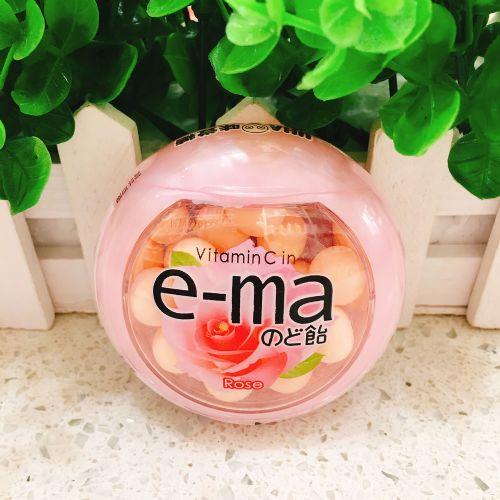 UHA味觉e-ma 玫瑰味润喉糖33g(圆樽装)
