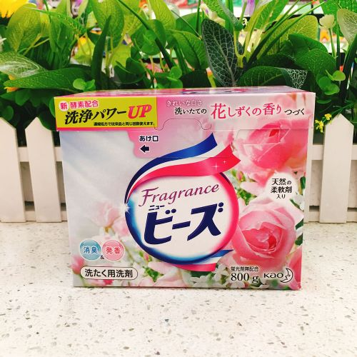 日本花王KAO天然柔顺剂洗衣粉800g玫瑰果香无荧光剂