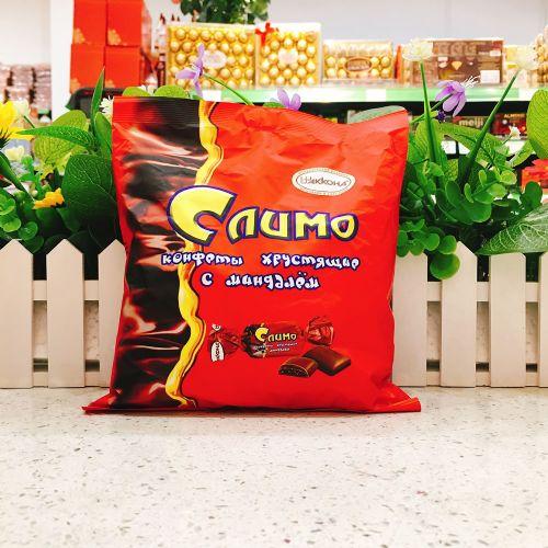 俄罗斯阿孔特牌巧克力杏仁夹心脆皮糖红皮糖500g