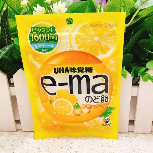日本UHA悠哈味觉e-ma柠檬梳打润喉糖50g(袋装)
