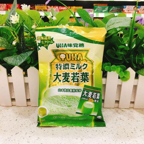 日本UHA悠哈味觉糖特浓牛奶糖(大麦若叶味)81g袋装