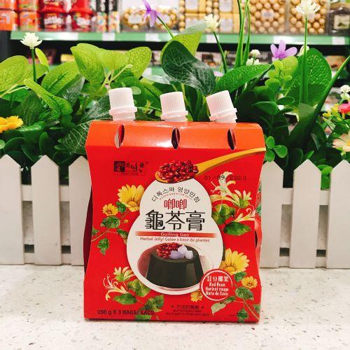 美味栈可吸椰果龟苓膏(红豆味)250g×3袋