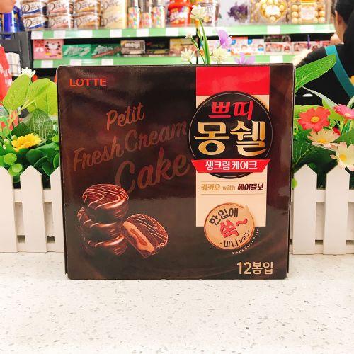 韩国乐天梦雪巧克力榛子味蛋糕198g