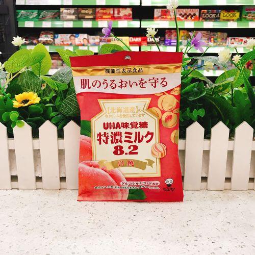 日本UHA悠哈味觉糖特浓8.2奶糖水蜜桃味93g(袋装)