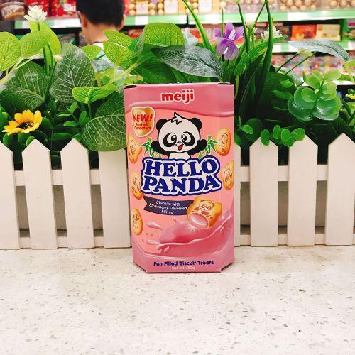 日本明治熊猫草莓夹心饼干50g