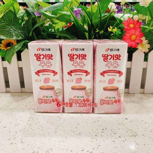 韩国进口牛奶宾格瑞草莓牛奶饮料200ml×6盒