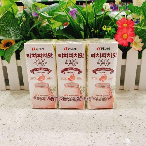 韩国进口牛奶宾格瑞荔枝蜜桃牛奶饮料200ml×6盒