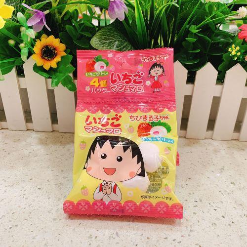 日本伊华小丸子草莓味棉花糖16个(4连袋)