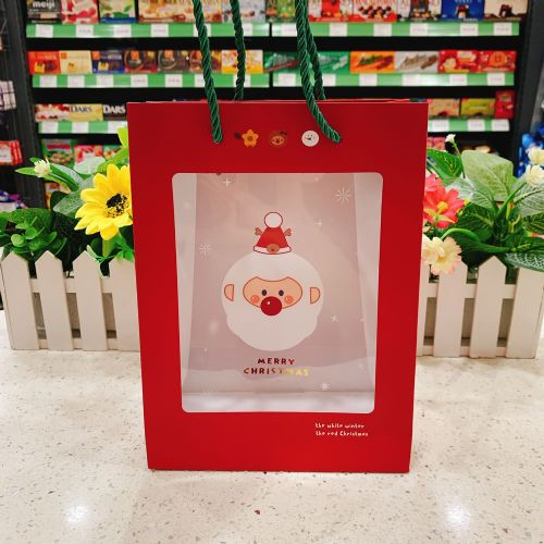 圣诞节儿童礼品袋可爱圣诞老人小火车透明PVC手拎精品礼物包装袋(大号)