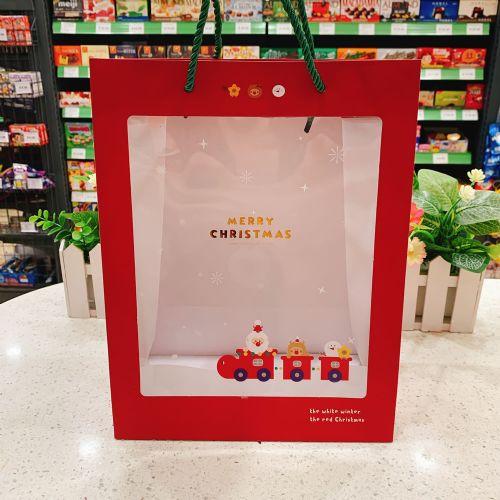 圣诞节儿童礼品袋可爱圣诞老人小火车透明PVC手拎精品礼物包装袋(中号)