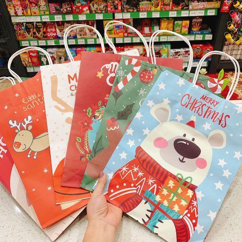 圣诞季礼品包装手拎纸袋 圣诞节儿童礼物环保纸袋 糖果手拎包装袋