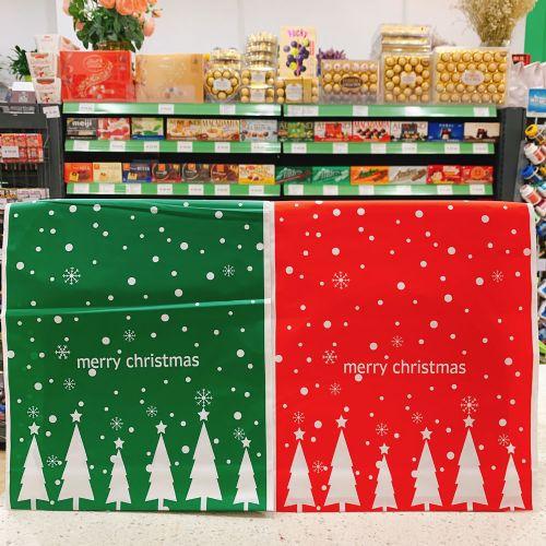 红绿圣诞树圣诞抽绳袋圣诞节礼物袋糖果装饰礼品包装袋束口袋(大号)
