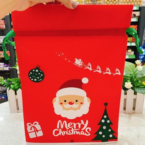 圣诞老人抽绳袋圣诞节礼物包装无纺布束口袋儿童玩偶糖果包装袋