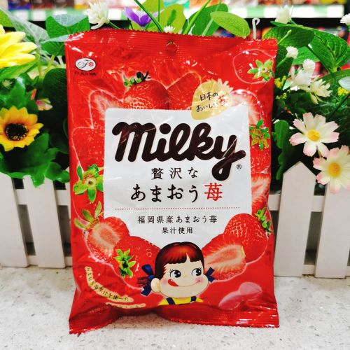 日本不二家牛奶妹浓厚草莓牛奶糖80g(袋装)