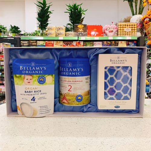 【品牌直供】澳洲贝拉米有机2段牛奶粉900g+高铁原味米粉4+ 125g礼盒装