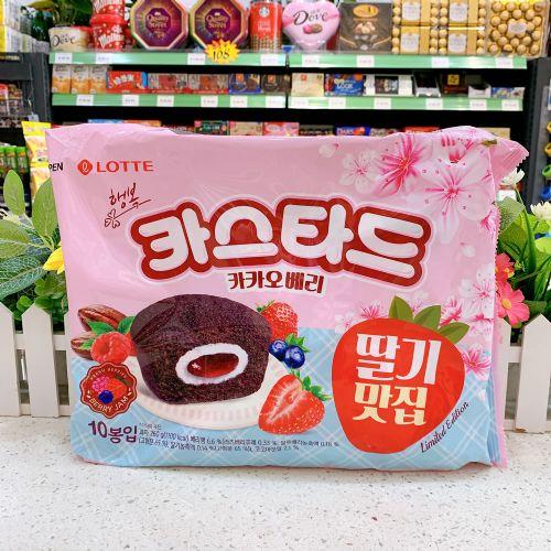 韩国乐天巧克力草莓夹心蛋糕260g