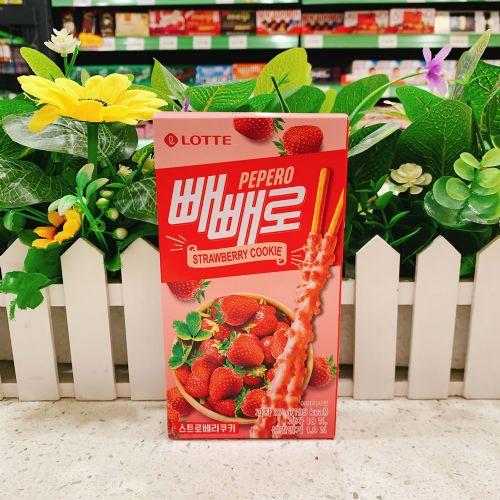 韩国乐天曲奇颗粒草莓味百利滋饼干37g