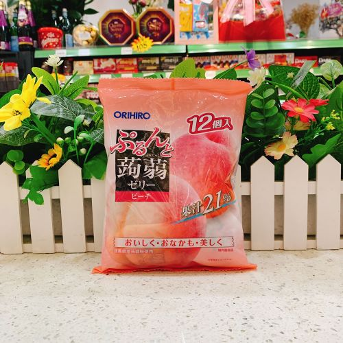 日本ORIHIRO 白桃�X�m果冻12个(袋装)