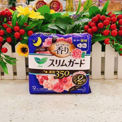 日本花王乐而雅 卫生巾超薄瞬吸玫瑰香味 35cm×12片
