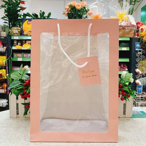 粉色透明手提纸袋(2020年儿童节礼物袋)