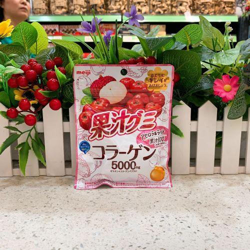 日本明治胶原蛋白车厘子荔枝果汁软糖68g(袋装)