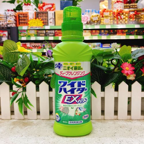 日本花王KAO酵素EX强力衣物彩漂液600ml瓶装