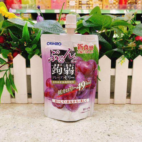 日本ORIHIRO葡萄味�X�m吸吸果冻130g(企装)