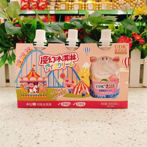 优之良品小U猪可吸冰淇淋饮料(草莓味+白桃味)180g