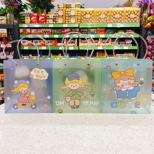 女孩图案PVC透明防水礼品袋手提袋 卡通图案